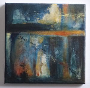 small abstract painting in blues orange golden and white